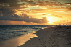 Sunrise over Atlantic ocean. Dominican republic Royalty Free Stock Photos