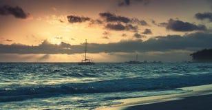Sunrise over Atlantic ocean. Dominican republic Stock Images