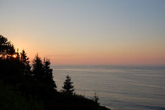 Sunrise over the Atlantic OCean. From Owls Head Harbor in Maine Stock Photo
