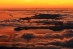 The sunrise over the Atlantic Ocean seen from Pico Volcano royalty free stock images
