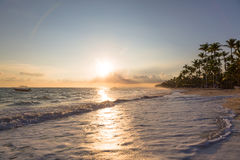 Sunrise over Atlantic ocean waves, Bavaro Beach Stock Photos