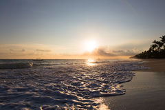 Sunrise over Atlantic ocean waves, Bavaro Beach. Dominican Stock Images