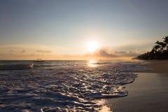 Sunrise over Atlantic ocean waves, Bavaro Beach Stock Images