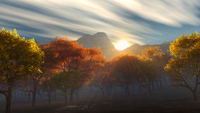 Sunrise over the autumn yellow and red trees. Sunrise or sunset over a mountain range and yellow - red leaves of autumn trees dressed in blue fog and morning stock illustration