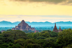 Sunrise over Bagan temples, Myanmar Stock Photos