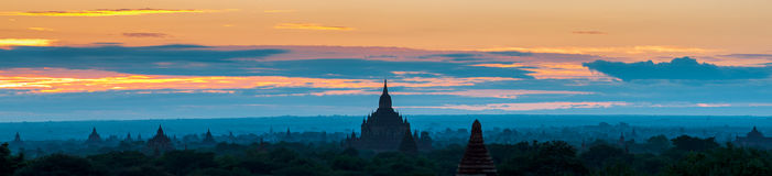 Sunrise over Bagan temples, Myanmar. Sunrise over Bagan temples as panorama, Myanmar Royalty Free Stock Photos