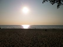 Sunrise over Baltic Sea and sandy beach of Gdynia, Poland. Travel and nature concept royalty free stock photography