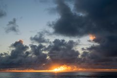 Beautiful Hawaiin Beach at Sunrise. Sunrise over Bathtub Beach in the small town of Laie on Oahu Hawaii. Beautiful colors at dawn Stock Photography