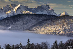 Sunrise over Bavarian alps. Daybreak in Karwendel mountains near Wallgau with view of Wetterstein mountains and Zugspitze Royalty Free Stock Photography