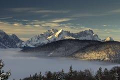 Sunrise over Bavarian alps. Daybreak in Karwendel mountains near Wallgau with view of Wetterstein mountains and Zugspitze Stock Photos