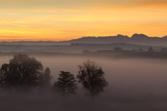 Sunrise over the bavarian alps, Germany Royalty Free Stock Photos