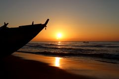Sunrise Over Beach At Puri In Odisha, India Stock Image