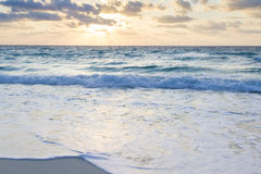 Sunrise. Over the beach on Caribbean Sea stock images