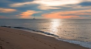 Sunrise over beach and charter fishing boat in San Jose Del Cabo in Baja California Mexico. BCS Royalty Free Stock Images