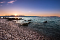Sunrise over the beach in Istria, Croatia royalty free stock photos