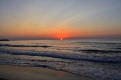 Sunrise over beach Romania stock photo