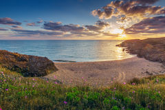 Sunrise over Beautiful Bay with Sandy Beach Stock Image
