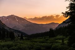 Sunrise over the beautiful mountains of the Sawatch Range. Colorado Rocky Mountains. Casco, Frasco, & French. Three rugged mountains of the Sawatch Range stock photography