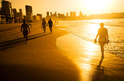Sunrise over Benidorm Beach, Spain Stock Images