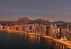 Sunrise over Benidorm city. Spain Royalty Free Stock Photography