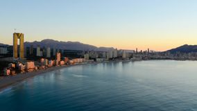 Sunrise over Benidorm stock footage