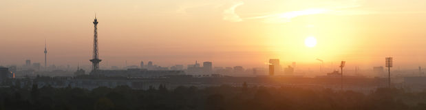 Sunrise over Berlin. Seen from the Teufelsberg Royalty Free Stock Images