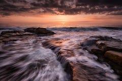 Sunrise over Black Sea. Sunrise and waves near Ravda Royalty Free Stock Images