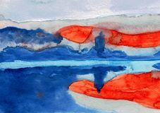 Sunrise Over Bled in Slovenia - Water Color Painting Stock Photography