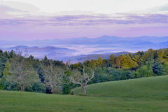 Sunrise over the Blue Ridge Mountains. Early morning  purple sky with white and blue green grass before Brown photograph along the Blue Ridge Pkwy. about 35 Stock Photography