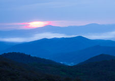 Sunrise Over Blue Ridge Mountains On Stormy Day Royalty Free Stock Photos