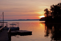 Sunrise over boat dock at Kentucky Lake Royalty Free Stock Photo