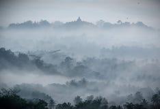 Sunrise over Borobudur Buddhist Temple Stock Photography