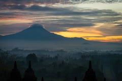 Sunrise over Borobudur stupa Royalty Free Stock Photo