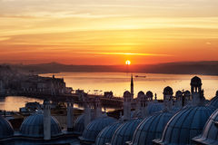 Sunrise over the Bosphorus. The view of the Suleymaniye Mosque, Istanbul royalty free stock photography