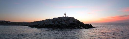 Sunrise over Breakwater / jetty for the Puerto San Jose Del Cabo harbor / marina in Baja Mexico Royalty Free Stock Photo
