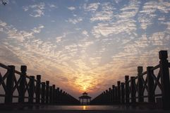 Sunrise over the bridge. In Wuxi Royalty Free Stock Photos