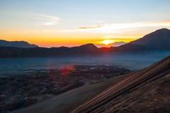 Sunrise over Bromo mountain, Java, Indonesia Royalty Free Stock Photo