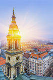 Sunrise over Budapest At Winter, Aerial View   Hungary Royalty Free Stock Image