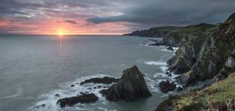 Sunrise over Bull Point landscape in Devon England Stock Photo