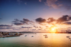 Sunrise over Burzebbuga bay in Malta Royalty Free Stock Photography
