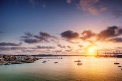 Sunrise over Burzebbuga bay in Malta Royalty Free Stock Photography