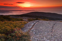 Sunrise over Cadillac Mountain Stock Photos