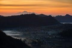 Sunrise over the caldera of Batur volcano in Bali Royalty Free Stock Photography