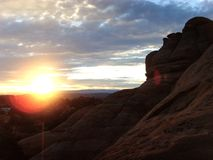 Sunrise Over Canyons at Arches royalty free stock photos