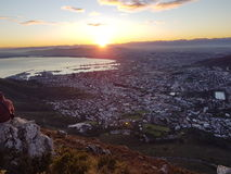 Sunrise over cape town. View of the rising sun over cape town from Lion's Head Royalty Free Stock Images