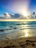 Sunrise over caribbean sea Stock Images