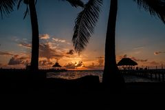 Sunrise over the Caribbean sea. Picture taken from the island of Caye Caulker, Belize Stock Photography