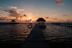 Sunrise over the Caribbean sea royalty free stock images