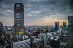 Sunrise Over The Cerulean Tower In Shibuya Tokyo. A peaceful morning overlooking famous architecture in Japan Stock Photo
