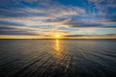 Sunrise over the Chesapeake Bay, in Havre de Grace, Maryland. Stock Photos